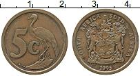 Изображение Монеты ЮАР 5 центов 1995 Бронза XF