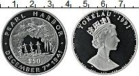 Изображение Монеты Токелау 50 долларов 1991 Серебро Proof 50 лет наподения на
