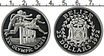 Изображение Монеты Белиз 25 долларов 1992 Серебро Proof Олимпийские игры. Бе