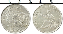Изображение Монеты Италия 500 лир 1961 Серебро XF 100 лет объединения