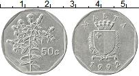 Изображение Монеты Мальта 50 центов 1992 Медно-никель XF Цветы