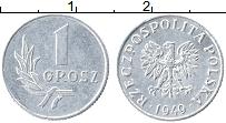 Изображение Монеты Польша 1 грош 1949 Алюминий XF Герб