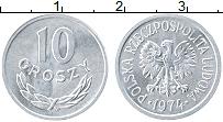 Изображение Монеты Польша 10 грош 1974 Алюминий UNC- Герб