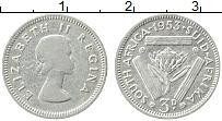 Изображение Монеты ЮАР 3 пенса 1953 Серебро VF Елизавета II