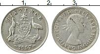 Изображение Монеты Австралия 6 пенсов 1957 Серебро XF Елизавета II.