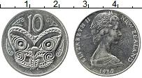 Изображение Монеты Новая Зеландия 10 центов 1980 Медно-никель XF Бабочка. Елизавета I