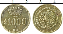 Изображение Монеты Мексика 1000 песо 1991 Латунь UNC- Герб