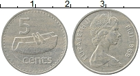 Изображение Монеты Фиджи 5 центов 1969 Медно-никель XF Елизавета II.