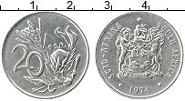 Изображение Монеты ЮАР 20 центов 1974 Медно-никель UNC- Цветы.
