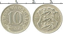Изображение Монеты Эстония 10 сенти 1931 Медно-никель XF Никель-Бронза. Герб