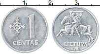 Изображение Монеты Литва 1 цент 1991 Алюминий XF Герб