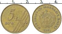 Продать Монеты Узбекистан 5 сомов 2001 сталь покрытая латунью