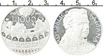 Изображение Монеты Италия 1000 лир 1995 Серебро Proof- 50 лет со дня смерти