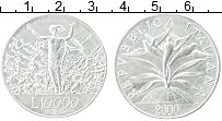 Изображение Монеты Италия 10000 лир 2000 Серебро UNC- Миллениум