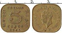 Изображение Монеты Цейлон 5 центов 1945 Латунь XF