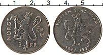 Изображение Монеты Норвегия 5 крон 1997 Медно-никель UNC- 350 лет Норвежской п