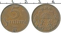 Изображение Монеты Латвия 5 сантим 1922 Медь XF Герб
