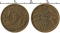 Изображение Монеты Веймарская республика 5 пфеннигов 1925 Латунь XF А