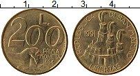 Изображение Монеты Сан-Марино 200 лир 1991 Латунь UNC Чеканка монет. Перва