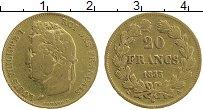 Изображение Монеты Франция 20 франков 1833 Золото XF А. Луи Филипп I. KM#