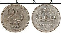 Изображение Монеты Швеция 25 эре 1945 Серебро XF Густав V