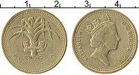 Изображение Монеты Великобритания 1 фунт 1990 Латунь XF Елизавета II.