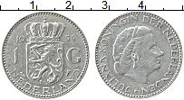 Изображение Монеты Нидерланды 1 гульден 1954 Серебро XF Юлиана