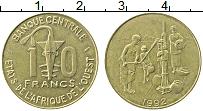 Изображение Монеты Западная Африка 10 франков 1992 Латунь XF