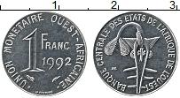 Изображение Монеты Западная Африка 1 франк 1992 Медно-никель UNC-