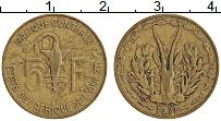 Изображение Монеты Западная Африка 5 франков 1971 Латунь XF
