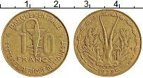 Изображение Монеты Западная Африка 10 франков 1977 Латунь XF