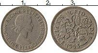 Изображение Монеты Великобритания 6 пенсов 1953 Медно-никель XF