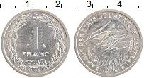 Изображение Монеты Центральная Африка 1 франк 1974 Алюминий XF