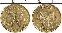 Изображение Монеты Гана 5 седи 1984 Латунь UNC-