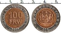 Изображение Монеты Руанда 100 франков 2007 Биметалл XF