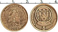 Изображение Монеты Руанда 5 франков 2003 Латунь XF