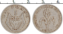 Изображение Монеты Руанда 1 франк 1977 Алюминий VF