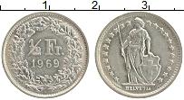 Изображение Монеты Швейцария 1/2 франка 1969 Медно-никель XF