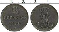 Изображение Монеты Ганновер 2 пфеннига 1850 Медь XF
