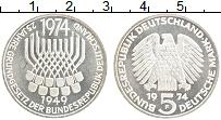 Изображение Монеты ФРГ 5 марок 1974 Серебро Proof- 25 лет Конституции,