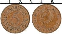 Изображение Монеты Маврикий 5 центов 1978 Бронза XF Елизавета II