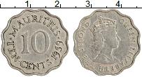 Изображение Монеты Маврикий 10 центов 1959 Медно-никель XF Елизавета II
