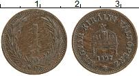 Изображение Монеты Венгрия 1 филлер 1897 Медь XF Редкий год