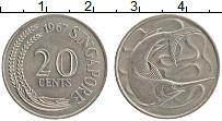 Изображение Монеты Сингапур 20 центов 1967 Медно-никель XF