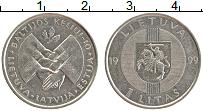 Изображение Монеты Литва 1 лит 1999 Медно-никель XF 10 лет акции Балтийс