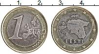 Продать Монеты Эстония 1 евро 2011 Биметалл