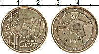 Продать Монеты Эстония 50 евроцентов 2011 Латунь