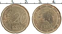 Продать Монеты Эстония 20 евроцентов 2011 Латунь