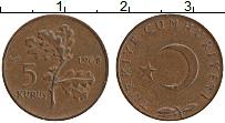 Изображение Монеты Турция 5 куруш 1968 Бронза XF