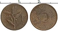 Изображение Монеты Турция 1 куруш 1968 Бронза XF
